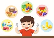 Een leuke jongen met de vijf voedselgroep Laat ` s iets ertoe brengen om te eten! royalty-vrije illustratie