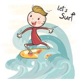 Een leuke jongen van de tekeningsbranding op surfplank die op grote golf drijven stock foto