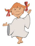 Een leuke kleine engel Een meisjesbeeldverhaal Stock Foto