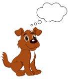 Een leuke puppyhond met gedachte bel Stock Foto's