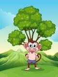 Een leuke speelse aap bij de heuveltop die zich onder de boom bevinden royalty-vrije illustratie