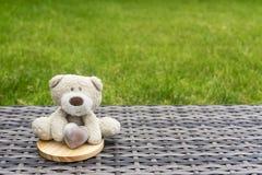 Een leuke teddybeer die de bruine zitting van het melkchocolahart op de bovenkant van ronde houten onderlegger voor glazen op pla Royalty-vrije Stock Afbeeldingen