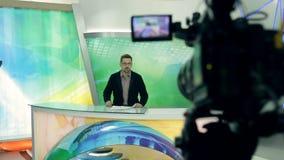 Een levende nieuwsstudio stock footage