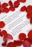 Een liefdebrief voor de dag van Valentijnskaarten. Stock Foto's