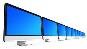 Een lijn van allen in computers één Stock Fotografie