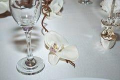 Een lijst die met witte orchideeën wordt verfraaid Stock Foto's