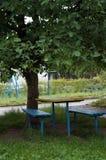 Een lijst en banken op het groene gras Stock Foto