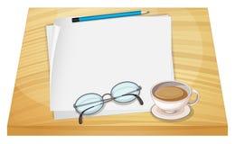 Een lijst met lege documenten, een potlood, een oogglas en een kop van ho vector illustratie