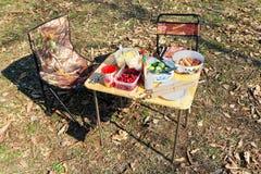 Een lijst met voedsel en twee stoelen voor een picknick in het bos royalty-vrije stock foto's
