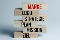 Een lijst van houten blokken die bovenop elkaar met een lijst van componenten van succesvol zaken en een merk in het Duits, in li stock fotografie