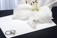 Een Lilium en trouwringen Royalty-vrije Stock Foto
