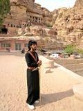 Een lokale ingezetene van de stad van Petra in Jordanië Stock Afbeeldingen