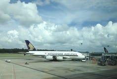 Een luchtbus van Singapore Airlines A380 Stock Foto's