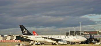 Een Luchtbusa330 vliegtuig van de Columbiaanse luchtvaartlijn Avianca (AV) met een Star Alliance-livrei stock fotografie