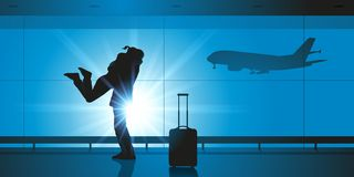 In een luchthaven, ontmoet een mens zijn vrouw wanneer hij van het vliegtuig krijgt stock illustratie
