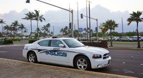 - Een luchthavenpolitiewagen bij de Kahului-Luchthaven Stock Foto's