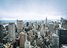 Een luchtmening over Manhattan in de stad van New York Royalty-vrije Stock Afbeelding