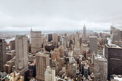 Een luchtmening over Manhattan in de stad van New York Stock Foto