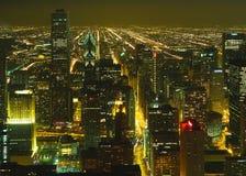 Een luchtmening van Chicago nacht Stock Foto's