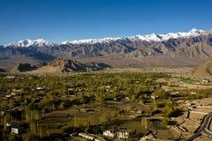 Een luchtmening van Leh-Vallei, Ladakh, Jammu en Kashmir, India Stock Afbeeldingen