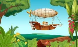 Een luchtschip die met twee jonge meisjes vliegen stock illustratie