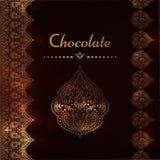 Een luxe uitstekende vectorkaart Uitnodiging met mooie gouden ornamenten, het kader van de kantgrens Chocolademalplaatje Royalty-vrije Stock Afbeelding