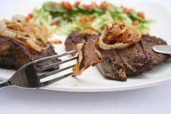 Een maaltijd van verse lever Stock Fotografie