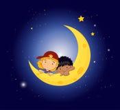 Een maan met twee jonge geitjes Stock Afbeelding