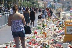 Een maand na aanval in NICE (Frankrijk) _August 14 2016 Royalty-vrije Stock Afbeelding