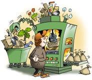 Een machine die huisvuil voor geld produceert Stock Foto