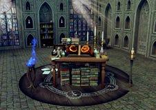 Een magisch altaar met kaarsen, boeken, voodoopoppen in een hekserijtempel royalty-vrije illustratie