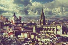 Een magnificentview van middeleeuwse kathedraal van Toledo Stock Afbeelding
