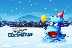 Een malplaatje van de Kerstmiskaart met een gelukkig blauw monster Royalty-vrije Stock Foto