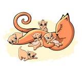 Een mammaslaap van de slaap rode kat met vijf het spelen babykatjes royalty-vrije illustratie