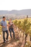 Een man die aan een vrouw in de wijngaarden spreken Royalty-vrije Stock Foto's