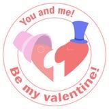 Een man en een vrouw - de twee helften raadsel van het hart Ben mijn Valentijnskaart Vlakke pictogramzegel voor de website en de  Stock Foto's