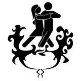 Een man en een vrouw zijn het dansen tango De vrouw wijst op brand en de druk, het mensenwater en de kalmte, pacificeert de brand royalty-vrije illustratie