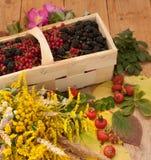 Een mand met rijpe bessen en een boeket van ingediende bloemen op een houten die oppervlakte wordt met heupen en de herfst wordt  Royalty-vrije Stock Fotografie