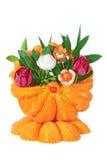Een mand van groenten, gesneden groenten. royalty-vrije stock foto's