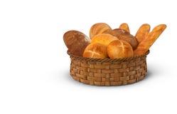 Een mand van witte brood en broodjes het 3d teruggeven Stock Foto