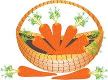 Een mand van wortelen Stock Foto