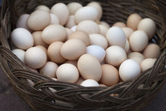Een mandhoogtepunt van eieren Royalty-vrije Stock Foto's