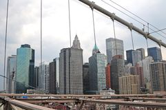 Een Manhattan mening van brooklyngbrug Stock Afbeelding