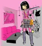 Een maniermeisje in het binnenland Stock Afbeelding