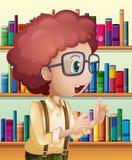 Een mannelijke bibliothecaris binnen de bibliotheek stock illustratie