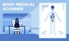 Een medische scanner die 3D beelden van menselijk lichaam maakt stock illustratie