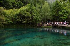 Een meer in Jiuzhaigou-Vallei, China Stock Fotografie