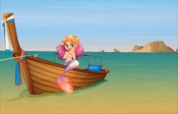 Een meermin bij de boot stock illustratie
