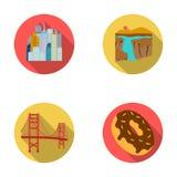 Een megastad, een grote canion, golden gate bridge, doughnut met chocolade De vastgestelde de inzamelingspictogrammen van het lan Stock Fotografie