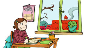 Een meisje bestudeert in haar ruimte Stock Foto